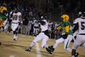Kevin Spradlin | PeeDeePost.com Wide receiver Desmond Marshall pursues a Millbrook defender after an interception.