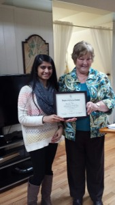 Submitted photo Mary Bowles, of the Daughters of the American Revolution, stands with award winner Khushbu Patel.