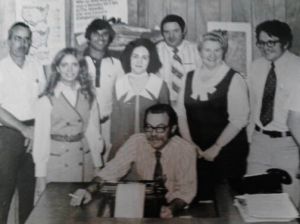 Submitted photo Helen Cox, second from left, met the love of her life at the Richmond County Daily Journal in 1973 — Clark Cox, far right.