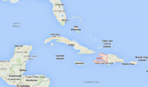 A Google Maps image shows the Republic of Haiti positioned southeast of Cuba.