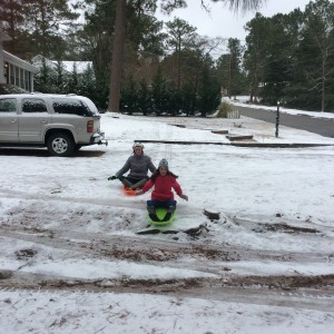 David Hudson snapped this pic of Mikhaila and Skylar Hudson enjoying the snow day in Hamlet.