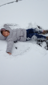 What child doesn't do this in the snow? Chloe Bowman, 3, can knock that off her list and mark the occasion with the photo, taken at her Northam Road home by Stacey Bowman.