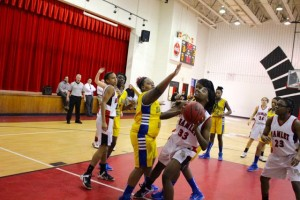 Kevin Spradlin | PeeDeePost.com Kennedy Alexander was strong in post play for the Red Rams, scoring five points and manhandling offensive rebounds for Hamlet in its 36-6 win.