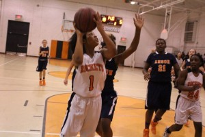 Kevin Spradlin   PeeDeePost.com Ralayah McCrae scored 13 of her game-high 15 points in the first half to stake Rockingham to a 22-4 halftime lead.