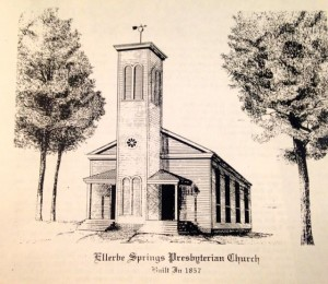 In 1994, Steve Martin drew this image of the former Ellerbe Springs Presbyterian Church from old photographers.