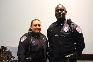 Kevin Spradlin | PeeDeePost.com Officer Jan Taylor Owens, left, and Officer Chauncey Devonta Saunders are the newest additions to the Rockingham Police Department. Chief Billy Kelly said all 34 of the department's positions are currently filled.