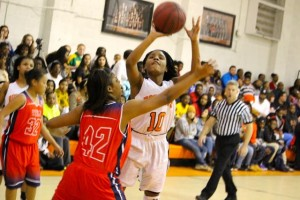 Kevin Spradlin | PeeDeePost.com Taliah Wall shoots for two of her six points.
