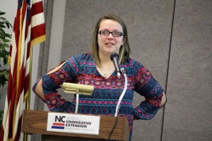Kevin Spradlin | PeeDeePost.com Kristi Reep, president of the North Carolina 4-H South Central District, was nervous but managed to get through her time at the podium as keynote speaker.