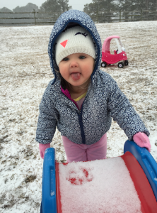 Claire Stedman is getting a leg up today in an effort to enjoy the snow. Photo by Jessica Stedman.