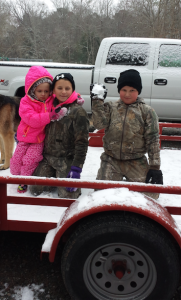 Brooklyn, Camrey and Tristan Crowley are on watch for anyone ready for a snowball fight.