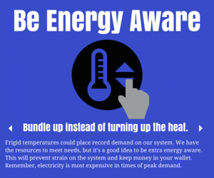 """Pee Dee Electric encourages its customers to be """"energy aware"""" during the cold snap."""