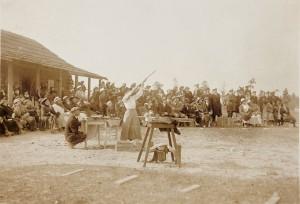 Annie Oakley shoots for a crowd in Pinehurst.