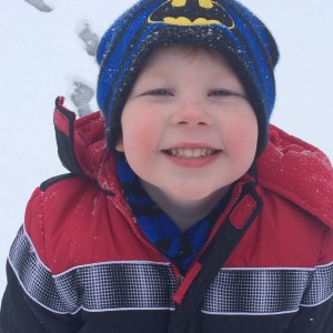 Christian Gardner playing in the snow on Sadie Lane in Rockingham. Photo by Andrea Gardner.