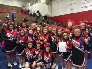 Submitted photo Members of the Rockets cheerleading squad celebrate winning a state championship over the weekend at Winston-Salem University.