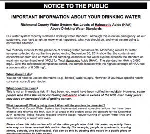 This image shows a portion of the sample notice some Richmond County water customers have received with their February bill.