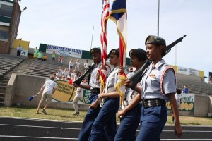 Kevin Spradlin | PeeDeePost.com The Raider Battalion Honor Guard leads the opening ceremonies of the Richmond County Special Olympics Spring Games.
