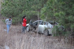 Kevin Spradlin | PeeDeePost.com The driver of a Nissan Altima involved in a one-car crash Saturday calls a family member for a ride home.