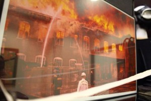 Kevin Spradlin | PeeDeePost.com One of the more attention-getting photos on display at Rockingham City Hall shows the blaze that destroyed the Roberdel Mill on Oct. 15, 1970.