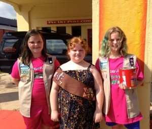 Kevin Spradlin | PeeDeePost.com From left to right, Members of Girl Scout Troop 543, including Dillan Hurd, Amanda Jackson and Olivia Jackson, will be conducting a Cooki Blowout Sale on March 10 at the former Bojangles restaurant.