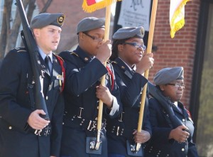 Kevin Spradlin | PeeDeePost.com Members of the Richmond Senior High School JROTC Raider Battalion Honor Guard take part in the Dr. Martin Luther King Jr. Memorial Parade in Rockingham.