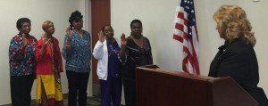 Submitted photo President Mary Swann , First Vice President  Yvonne F. McGraw, Second Vice President Avis Johnson, Third Vice President Linda Douglas (not pictured) Secretary Denise McGhee, and Treasurer Ramona Burns were sworn in by Clerk of Superior Court Vickie Daniel.