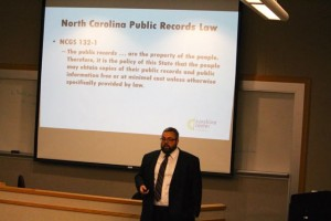 Kevin Spradlin | PeeDeePost.com Jonathan Jones of theNorth Carolina Open Government Coalition