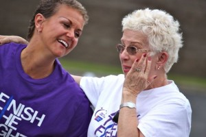 Kevin Spradlin | PeeDeePost.com The survivors' lap in May 2014 was emotional, one mixed with laughter and tears of both sadness and joy. Pictured is survivor Kristi O'Boyle, left, with mother Mary Ellen Shea.