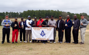 Dexter Nicholson | 2XIST Photography Pictured from left to right: Matt Holiday, Bill McKerry, James McDonald, Alphonso Wall, Jimmy Covington, Johnny Young, Larry Horne, Joe Horne, Vernon Allen (Worshipful Master, Poplar Hill 331), Micah Hawkins, Nigel Brown and Ralph Currie.