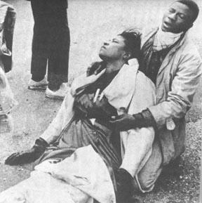 Photo courtesy http://civrights.wikispaces.com Amelia Boynton Robinson on 'Bloody Sunday' march across Edmund Pettis Bridge in Selma in March 1964.