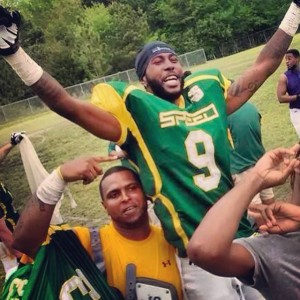Submitted photo Timothy McCaskill celebrates catching the winning TD pass with his teammates.