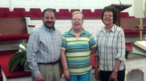 Submitted photo Pastor Chris Hawks, Jean Stricklin and Clara Strickland.