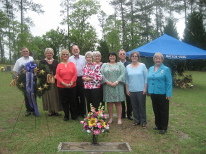 Submitted photo Left to Right:  Roger Allen, Susanne McInnis, Pat Chappell, Brooks Allen, Linda Pryce, Jan Allen, Blair Allen Small, Dan Allen, Nancy Robbins, Mary Bowles:  DAR members and sons of Frances Rogers Allen at the grave site that was marked with the DAR marker.   Also attending but not pictured is Faye Reynolds, who was a charter member along with Frances Rogers Allen.