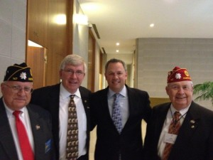Submitted photo At Legislative Day for Veterans Wednesday in Raleigh are, from left, Carlton Hawkins, vice commander of American Legion Post 147, Rockingham; N.C. Sen. Tom McInnis (R-District 25); N.C. Lt. Gov. Dan Forest; and Jeff Joyner, N.C. American Legion Legislative Chairman.