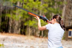 Kevin Spradlin | PeeDeePost.com Faith Jarek, of Parkwood Middle School in Union County, fires off her 12-gauge shotgun in March at the John F. Lentz Hunter Education Complex.