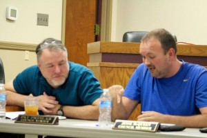 Kevin Spradlin | PeeDeePost.com Hamlet City Council members Pat Preslar, left, and Jesse McQueen exchanged words during Thursday's budget work session.