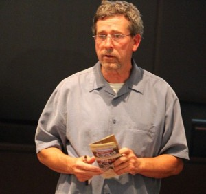 Kevin Spradlin | PeeDeePost.com Jesse Wimberley, of the Sandhills Area Land Trust, holds a Sandhills Heritage Gateway brochure while speaking about the importance of the view shed along Highway 73 from Ellerbe to Mount Gilead.