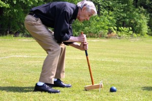 Kevin Spradlin | PeeDeePost.com Don Walker competes in the men's 80 to 84 age bracket on Thursday at Browder Park in croquet, part of the 25th annual Senior Games of Richmond County.