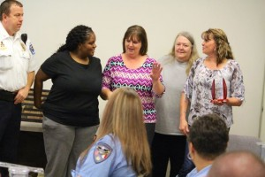 Kevin Spradlin | PeeDeePost.com Hamlet Police Department Chief Scott Waters thanks dispatchers Loretta Sears, Shannon Ellerbe, Judi Dennis and Cindy Ojeda.