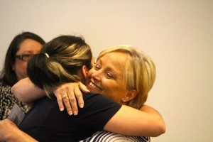 "Kevin Spradlin | PeeDeePost.com ""I'm a life saved,"" said Arlene Gordon, right, while hugging Dawn Belk, named Richmond County Emergency Services Telecommunicator of the Year."
