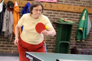 Kevin Spradlin | PeeDeePost.com Barbara McLain, 81, allowed only nine points in four table tennis games against two opponents on Thursday at the Hamlet Senior Center.