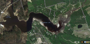 A Google Maps aerial image of the Ledbetter Lake area.