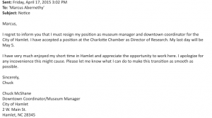 This is an image of Chuck McShane's letter of resignation, emailed Friday afternoon to Hamlet City Manager Marcus Abernethy.