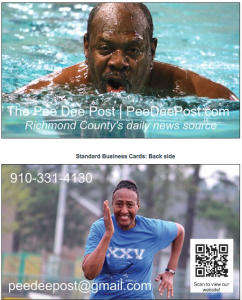At top, Dr. Wendell Wells competes in one of five swimming events at FirstHealth Fitness and Health Center during the 25th annual Senior Games of Richmond County. At bottom, Patricia Clemmons prepares to take flight in the running long jump at Richmond Senior High School.