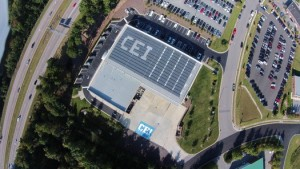Photo courtesy: CEI CEI's building is in the flight path of Raleigh International Airport. The company used it as an opportunity to market its company name with the layout of its solar panels.