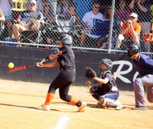 Kevin Spradlin | PeeDeePost.com Kyla Hawkins drives the ball to deep center field to lead off the bottom of the third inning. She scored on Taylor Parrish's double.