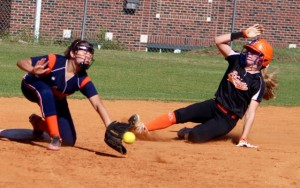 Kevin Spradlin | PeeDeePost.com Savannah Lampley slides safely into second base in the bottom of the fourth inning. She and Kyla Hawkins scored on Taylor Parrish's two-run double for a 5-2 lead.