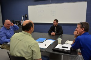 An RCC photo Richmond Community College student Aaron Snead of Rockingham sits in front of a panel of Duke Energy supervisors who interviewed him, along with other Electric Utility Substation and Relay Technology students at RCC, for summer internship spots.