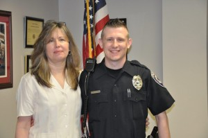 Submitted photo Barbara Parent and her son, Village of Pinehurst Patrolman Cameron Parent.