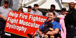 "Kevin Spradlin | PeeDeePost.com Milee Huffman, 16, of Laurinburg, helped provide a face and name to Rockingham firefighters' efforts to ""Fill the Boot"" for the Muscular Dystrophy Association."