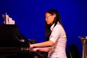 Kevin Spradlin | PeeDeePost.com Clarinetist Angela Chen moved to the other side of the stage for her debut solo on the piano.